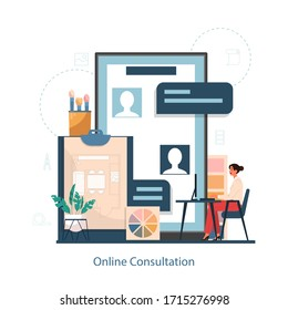 Online consultation service with interior designer concept. Decorator planning the design of a room, choosing wall color and furniture style. House renovation. Isolated flat vector illustration
