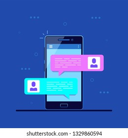 Online conversation concept. Pictire of mobile phone with chat message notifications. Mobile messenger. Flat style illustration.