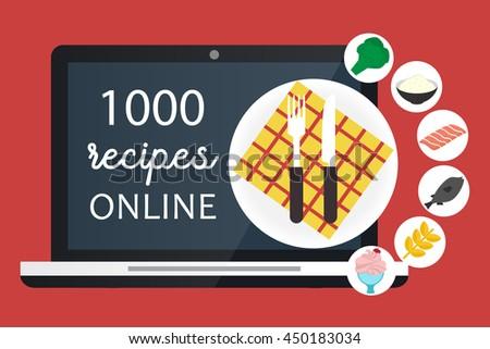 Online Cooking Recipes Websites Vector Flat Stock Vector