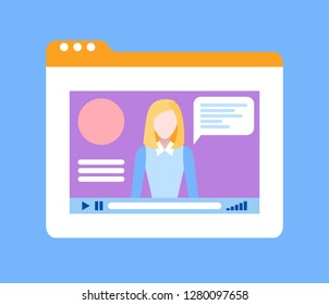 Online course with female teacher tutoring isolated icon vector. Window web page with lady tutor on video explaining material, distant studies education