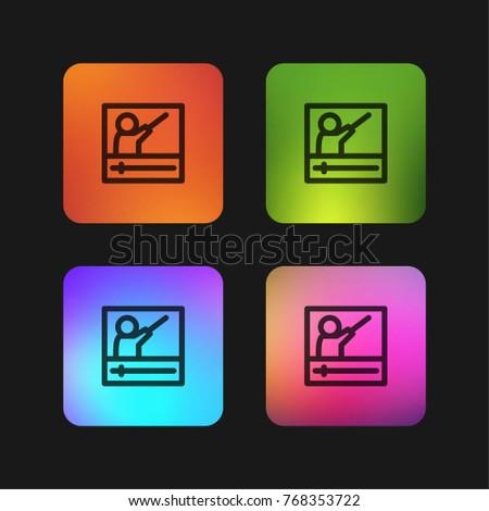 Online Course Four Color Gradient App Stock Vector (Royalty