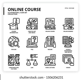 Online course icon set for web design, book, magazine, poster, ads, app, etc.