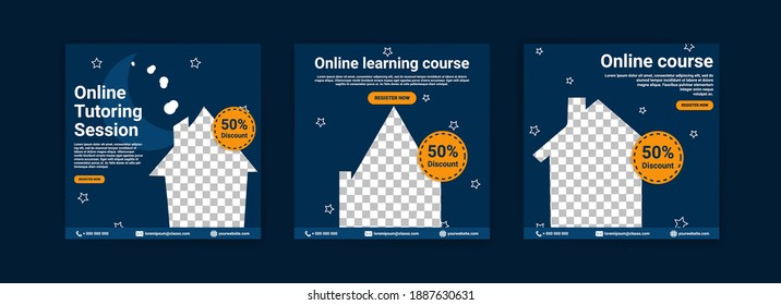 Online courses and classes. Social media post templates for digital marketing and promotion. Advertisements for webinars. Keep studying even at home.