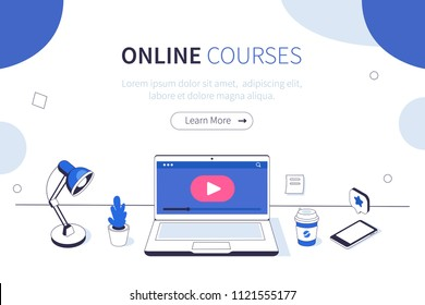 Online courses concept. Can use for web banner, infographics, hero images. Flat isometric vector illustration isolated on white background.
