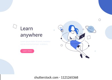 Online courses concept with character. Can use for web banner, infographics, hero images. Flat isometric vector illustration isolated on white background.