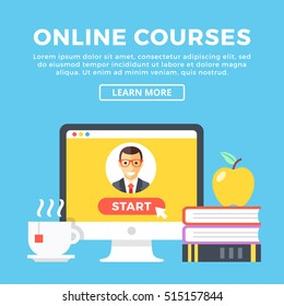 Online courses concept. Desktop PC, books, apple, cup of tea. Comfortable watching. Modern graphic elements for web design, infographics, web banner, printed materials. Flat design vector illustration