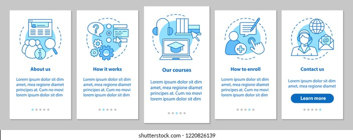 Online courses onboarding mobile app page screen with linear concepts. E-learning service. Distance education. Walkthrough steps graphic instructions. UX, UI, GUI vector template with illustrations