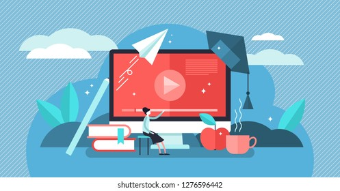 Online courses vector illustration. Flat tiny person learn virtual concept. Modern knowledge development using internet training, teaching. Webinar and distance lesson service. Web presentation video.