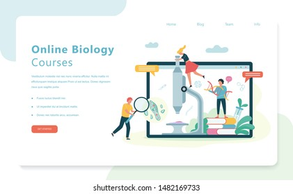 Online courses web banner design. Biology science concept. People with microscope make laboratory analysis. Idea of education and experiment. Vector illustration in cartoon style