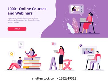 Online courses. Women and men working with laptops, learning languages and watching a video. Set of banners and backgrounds for site with a distance education theme. Vector illustration