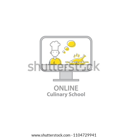 a0648bc59a2 Online Culinary school. Chef teaches cooking on the screen in the online  cooking school.