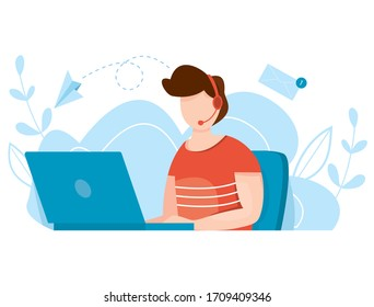 Online customer service agent with headphones. Distance support concept. Agent with headset talking with client. Global technical support vector illustration. Helpdesk.