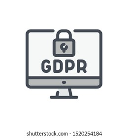 Online data GDPR protection color line icon. Computer with web secure vector outline colorful sign.