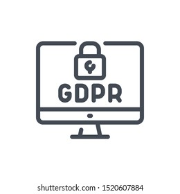 Online data GDPR protection line icon. Computer with web secure vector outline sign.