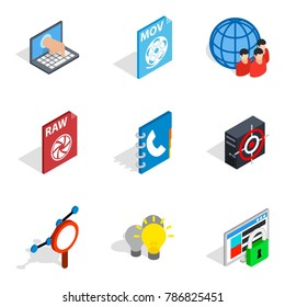 Online data icons set. Isometric set of 9 online data vector icons for web isolated on white background