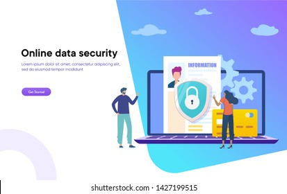 online data security Access vector illustration concept, man showing data security system, Security Data Protection can use for, landing page, template, ui, web, homepage, poster, banner, flyer
