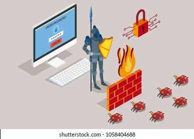 Online data security. Antivirus software for work safe the web. Security data protection with firewall. Vector illustration.