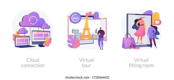 Online data transfer and virtual experience abstract concept vector illustration set. Cloud connection, virtual tour, virtual fitting room, internet connection, web 3d tour abstract metaphor.