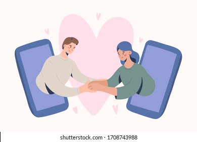 Online date, romantic couple video chat via smartphone application, concept of virtual relationship on quarantine and self-isolation. vector illustration with boyfriend and girlfriend characters