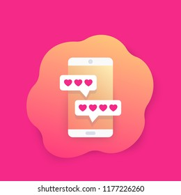 Online dating app and chat, vector icon