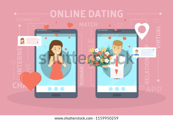 Online Dating App Concept Virtual Relationship Stock Vector (Royalty