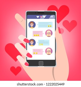 Online dating app. Hand holding mobile phone with love chat on the screen. Sending message to a man and asking for a date. Searching for romantic relationship. Isolated flat vector illustration