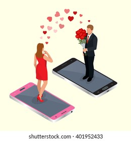 Online dating app. Man and woman on smartphones. Acquaintance through the social network. Flat 3d isometric vector illustration. For infographics and design games.
