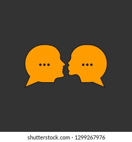 Online dating, chatting, dating service, man and woman chatting on social networks, two profiles, message bubbles. Vector illustration