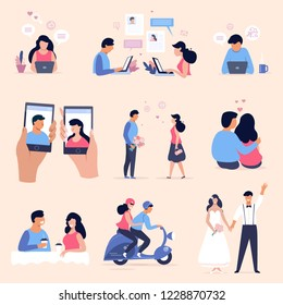 Online dating concept illustration set, romantic couple collection, flat cartoon characters