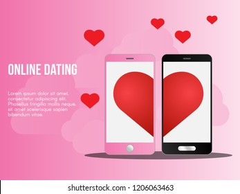 Online dating concept. Ready to use vector illustration. Suitable for background, wallpaper, landing page, web, banner, card and other creative work.