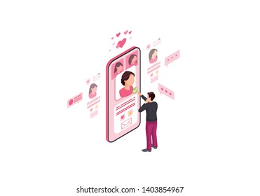 Online dating isometric color vector illustration. Male picking date on pink screen infographic. Persons social media profile 3d concept. Matchmaking, liking webpage, mobile app design