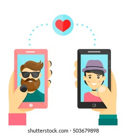 Online dating match love app heart concept. Men and women match use smarphone phone to develop relations and date. Vector modern flat cartoon character illustration. Isolated on white background
