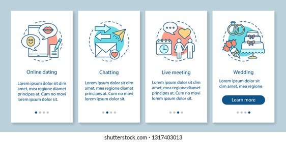 Online dating onboarding mobile app page screen vector template. Chatting, live meeting, wedding steps with linear illustrations. Internet date, love service. UX, UI, GUI smartphone interface concept