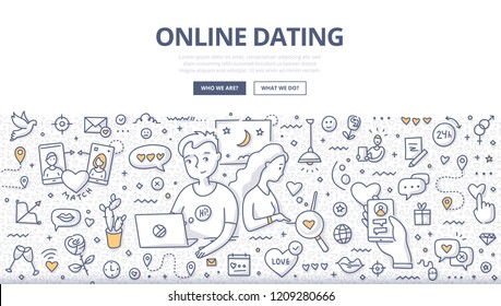 Online dating and relationship. Doodle vector concept of man & woman finding love, dating & communicate via internet. Illustration for web banners, hero images, printed materials