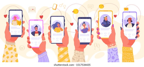 Online dating service application. Hands holding smartphone with man and woman profiles. Modern young people looking for a couple. Concept of social media, virtual relationship communication.