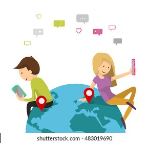 Online dating service. Virtual Chat, Like, Selfie concept. Boy and girl send messages of smartphone. Young couple man and woman on the planet Earth. Flat design, Vector illustration isolated on white
