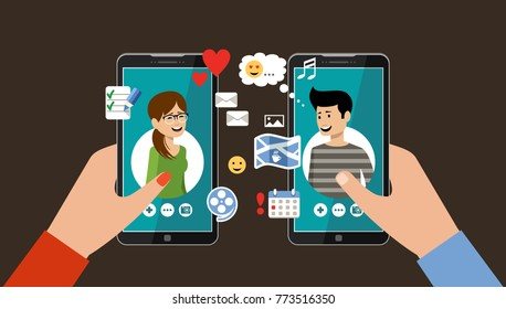 Online dating and social networking concept. Virtual love. Vector illustration