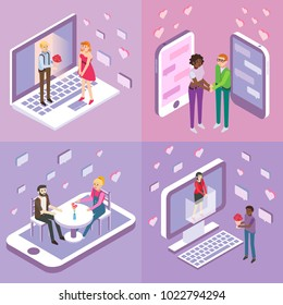 Online dating vector flat isometric poster, banner set. Single women and men looking for love and romance while using online dating sites to find their soulmates.