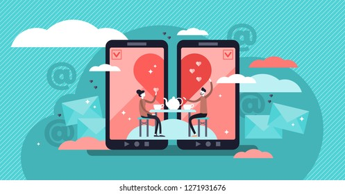 Online dating vector illustration. Flat tiny persons concept couple relationship. Mobile application for distance communication and introduction with romantic or sexual partners. Web message chat.