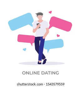 Online dating vector illustration. Modern relationship through mobile chatting. Love and romance. Isolated on white background, modern flat style.