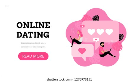 Online dating. Virtual relationships. Dating applications concept. Flat vector illustration with male and female chatting. Find love. Landing page template. Modern flat design concept for web design