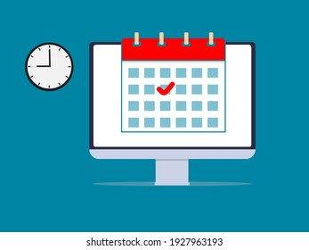 Online deadline calendar date vector illustration concept