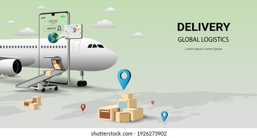 Online delivery by air service on mobile,Global logistic,transportation. Online order.Air logistics.airplane,warehouse and parcel box.Concept for website or banner.3D Perspective Vector illustration