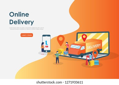Online delivery concept, can use for, landing page, template, ui, web, mobile app, poster, banner, flyer.