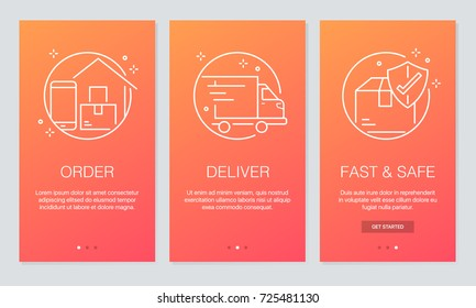 Online delivery concept onboarding app screens. Modern and simplified vector illustration walkthrough screens template for mobile apps.