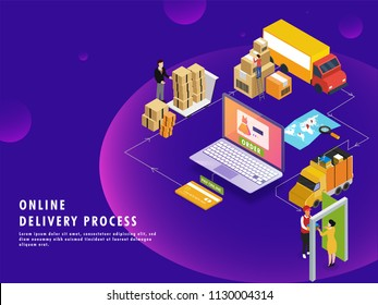 Online delivery process, isometric design with product order, packaging, shipping and courier boy delivering at destination point. Can be used for advertisement.