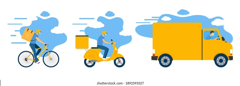 Online Delivery Service Application Simplified Vector Graphic, 3 Vehicles, Driving Van, Riding Bike and Bicycle Side View, Man Wears Mask and Helmet, A Box to Keep Your Items  , Van to Deliver Parcel