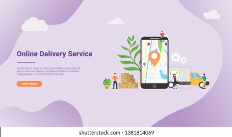 online delivery service concept with apps mobile gps location for website template landing banner or homepage web - vector illustration
