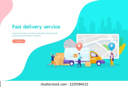 Online delivery service concept, online order tracking, young man happy the package arrived, can use for, landing page, template, ui, web, mobile app, poster, banner, flyer