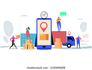Online delivery service concept, Order, Cargo, Mobile App, GPS Tracking Service. Worldwide Logistic Delivery.  Flat cartoon character graphic design. Landing page,banner,flyer,poster,web page\n